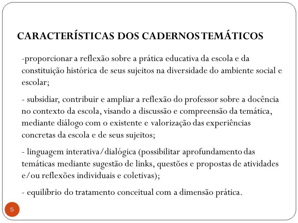 CARACTERÍSTICAS DOS CADERNOS TEMÁTICOS -proporcionar a reflexão sobre a prática educativa da escola e da constituição histórica de seus sujeitos na di