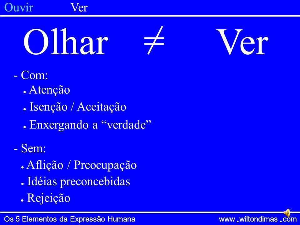 Os 5 Elementos da Expressão Humana www wiltondimas com ● ● EscutarOuvir= - Sem: ● Prejulgar / Interromper ● Apego às nossas idéias ● Pensar em outras