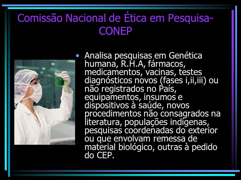 Comissão Nacional de Ética em Pesquisa- CONEP Analisa pesquisas em Genética humana, R.H.A, fármacos, medicamentos, vacinas, testes diagnósticos novos