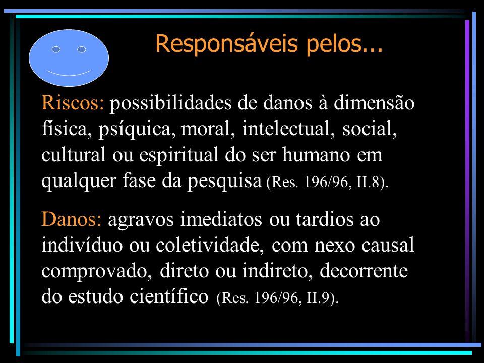 Responsáveis pelos... Riscos: possibilidades de danos à dimensão física, psíquica, moral, intelectual, social, cultural ou espiritual do ser humano em