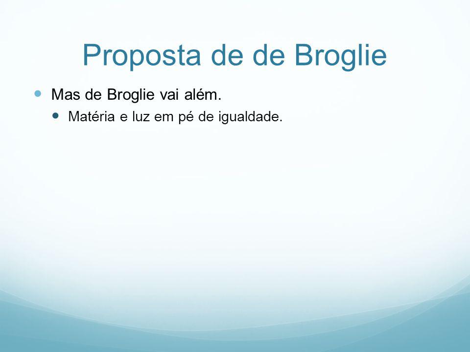 Proposta de de Broglie Mas de Broglie vai além. Matéria e luz em pé de igualdade.