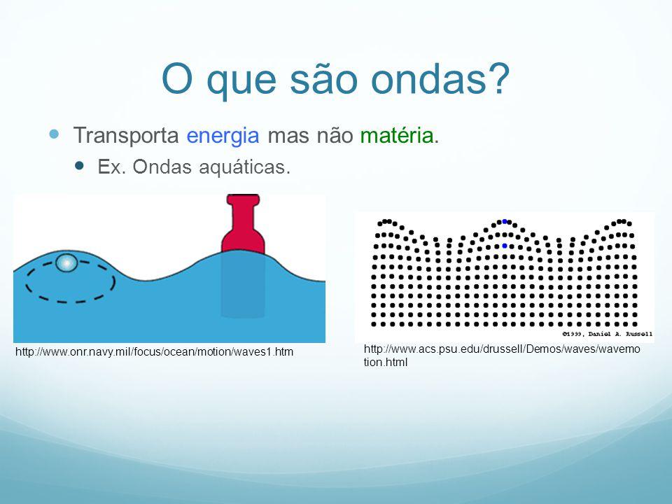 O que são ondas? Transporta energia mas não matéria. Ex. Ondas aquáticas. http://www.onr.navy.mil/focus/ocean/motion/waves1.htm http://www.acs.psu.edu