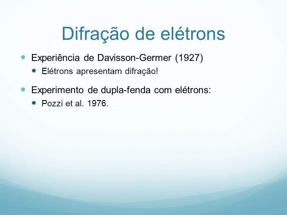 Difração de elétrons Experiência de Davisson-Germer (1927) Elétrons apresentam difração! Experimento de dupla-fenda com elétrons: Pozzi et al. 1976.