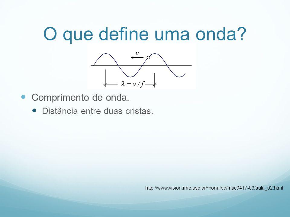 O que define uma onda? Comprimento de onda. Distância entre duas cristas. http://www.vision.ime.usp.br/~ronaldo/mac0417-03/aula_02.html