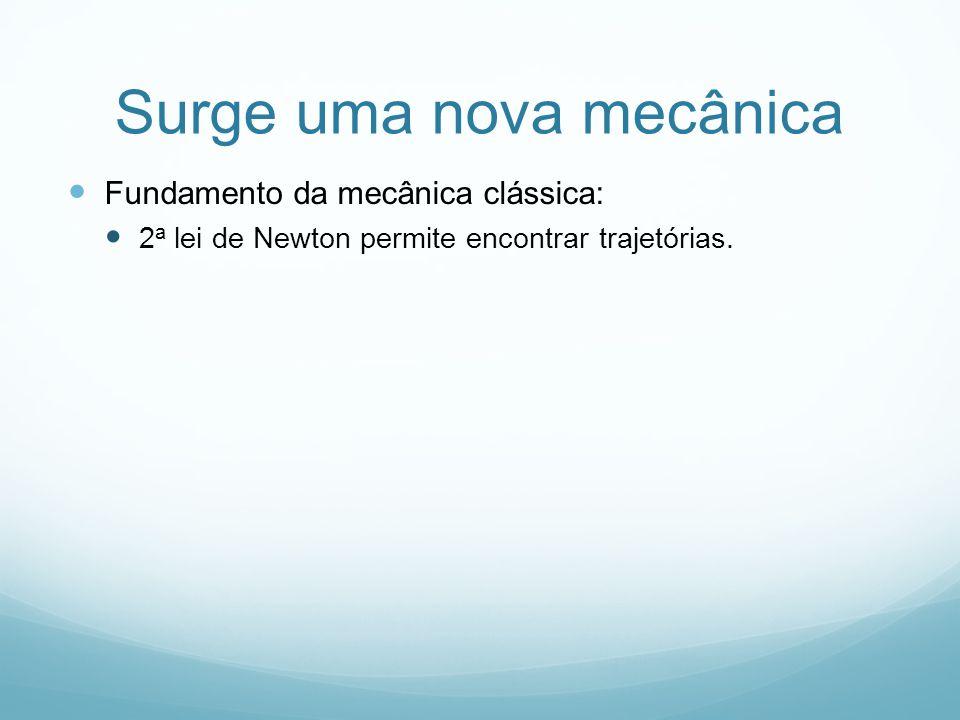 Surge uma nova mecânica Fundamento da mecânica clássica: 2 a lei de Newton permite encontrar trajetórias.
