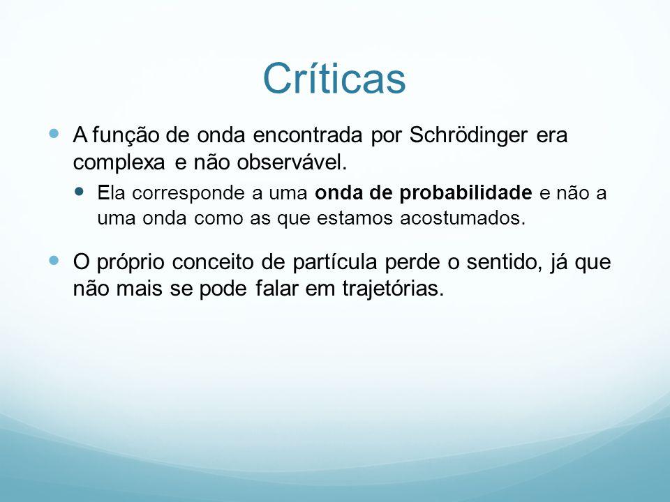 Críticas A função de onda encontrada por Schrödinger era complexa e não observável. Ela corresponde a uma onda de probabilidade e não a uma onda como