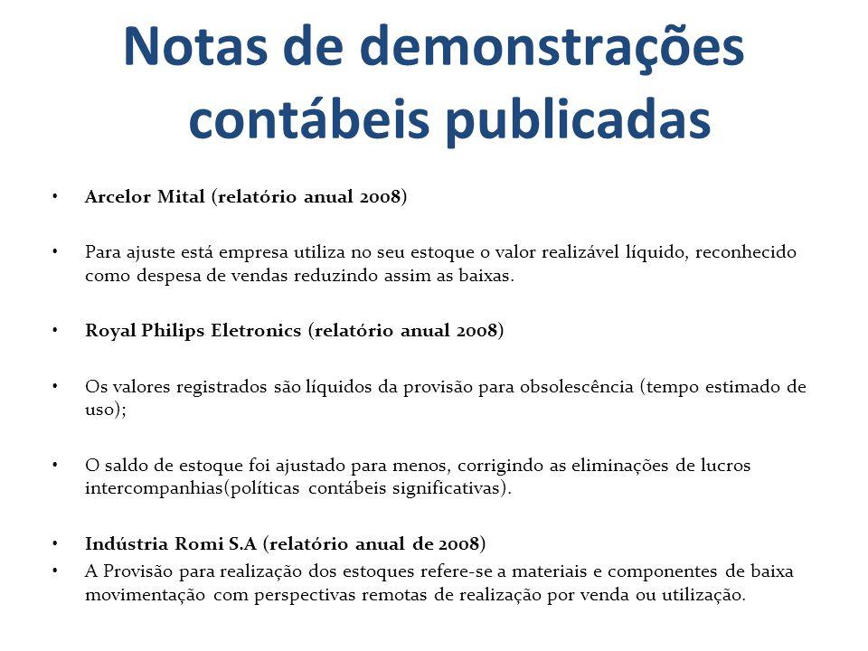 Notas de demonstrações contábeis publicadas Arcelor Mital (relatório anual 2008) Para ajuste está empresa utiliza no seu estoque o valor realizável lí