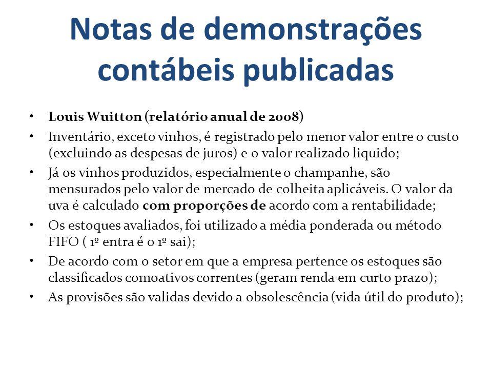 Notas de demonstrações contábeis publicadas Louis Wuitton (relatório anual de 2008) Inventário, exceto vinhos, é registrado pelo menor valor entre o c