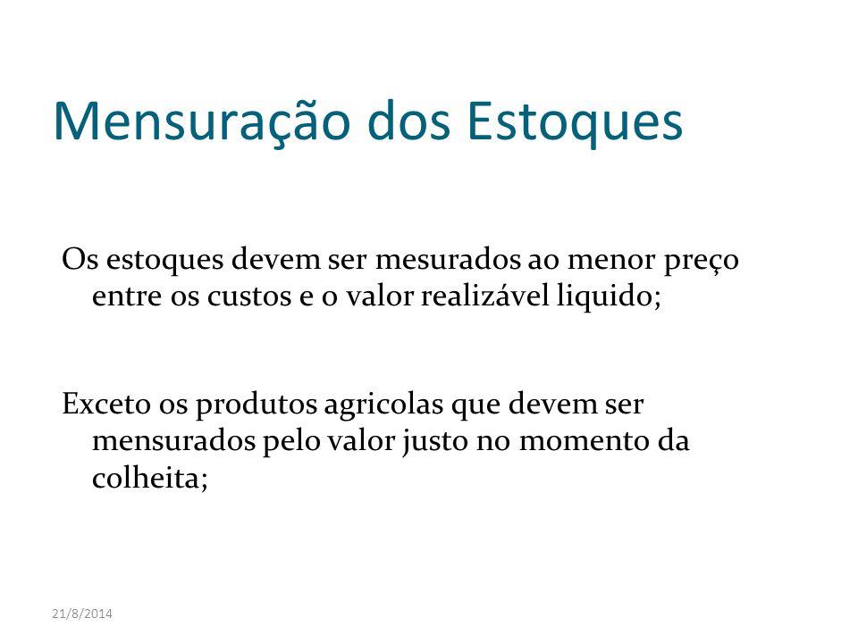 21/8/2014 Mensuração dos Estoques Os estoques devem ser mesurados ao menor preço entre os custos e o valor realizável liquido; Exceto os produtos agri