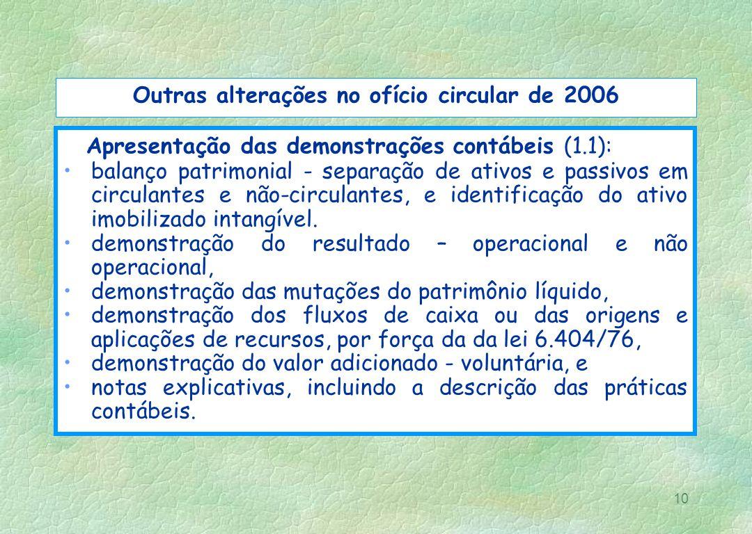 10 Outras alterações no ofício circular de 2006 Apresentação das demonstrações contábeis (1.1): balanço patrimonial - separação de ativos e passivos e