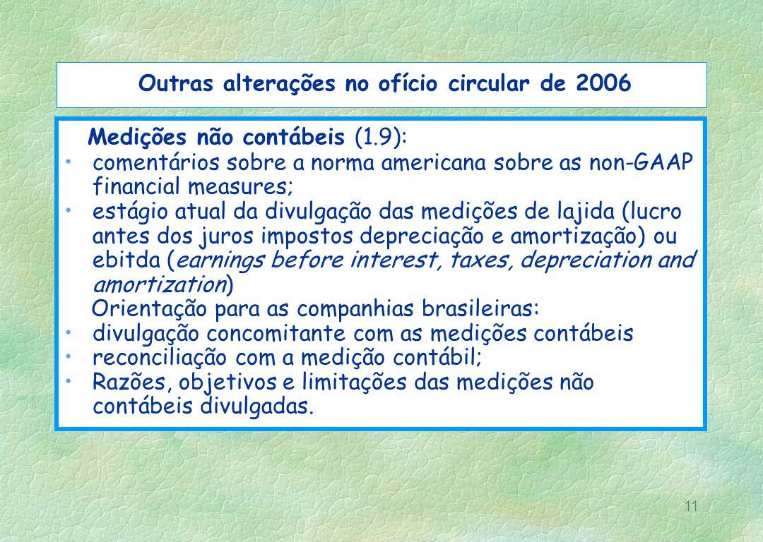 11 Outras alterações no ofício circular de 2006 Medições não contábeis (1.9): comentários sobre a norma americana sobre as non-GAAP financial measures