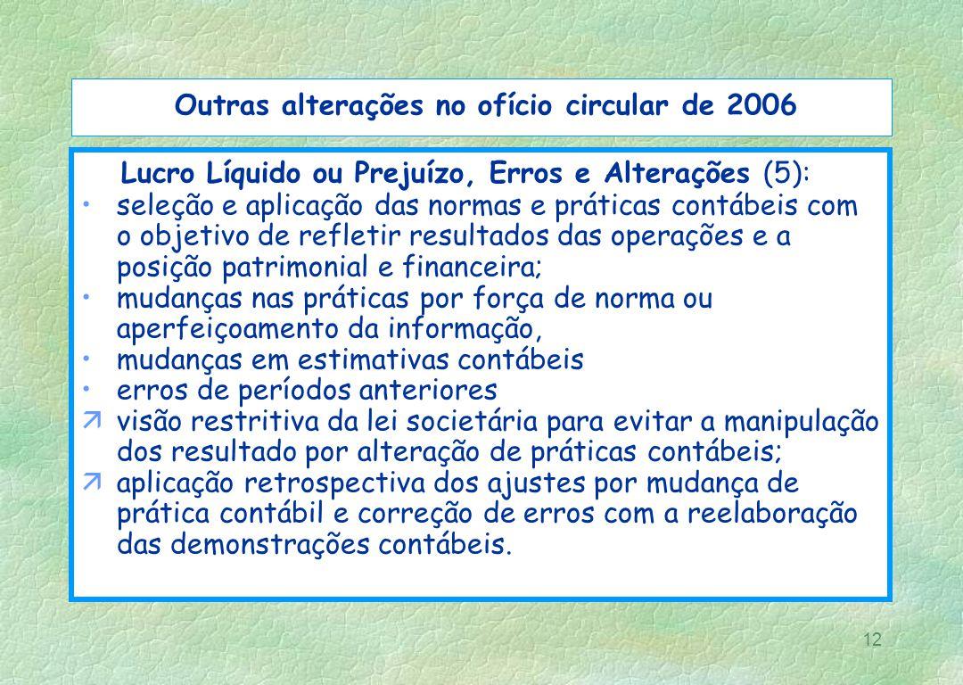 12 Outras alterações no ofício circular de 2006 Lucro Líquido ou Prejuízo, Erros e Alterações (5): seleção e aplicação das normas e práticas contábeis