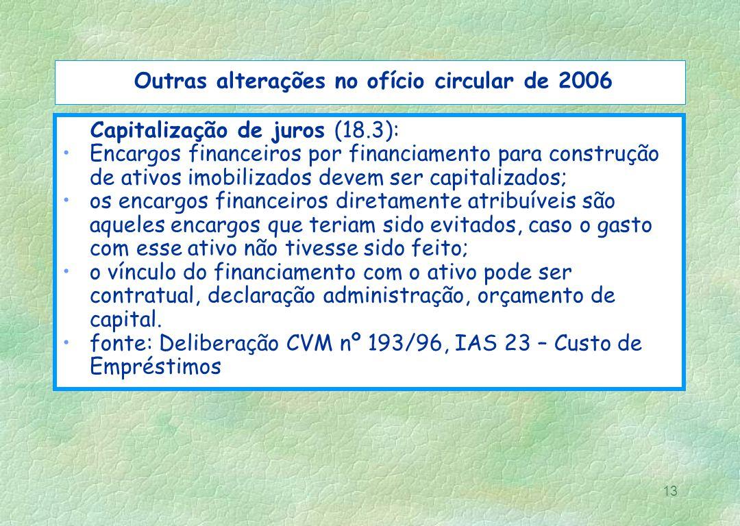 13 Outras alterações no ofício circular de 2006 Capitalização de juros (18.3): Encargos financeiros por financiamento para construção de ativos imobil