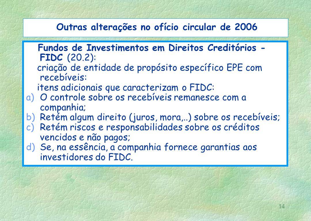 14 Outras alterações no ofício circular de 2006 Fundos de Investimentos em Direitos Creditórios - FIDC (20.2): criação de entidade de propósito especí