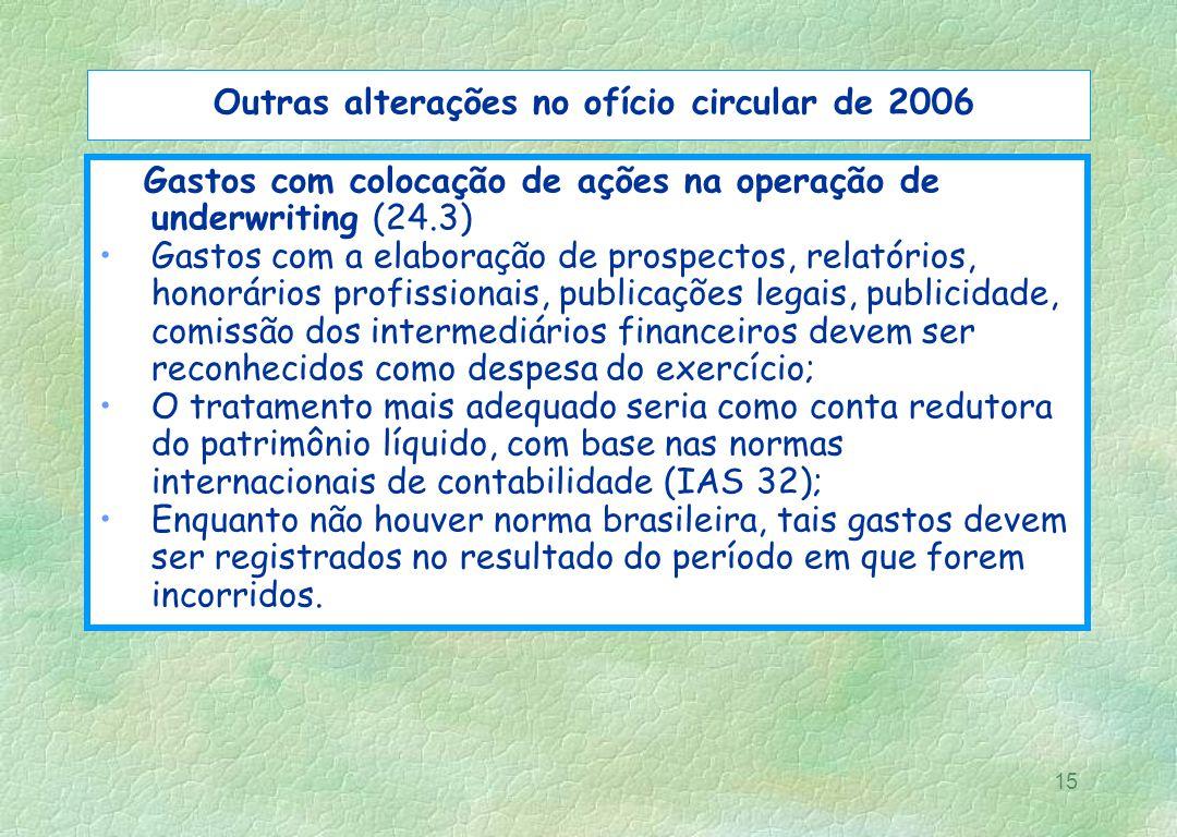 15 Outras alterações no ofício circular de 2006 Gastos com colocação de ações na operação de underwriting (24.3) Gastos com a elaboração de prospectos
