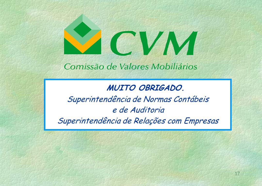 17 MUITO OBRIGADO. Superintendência de Normas Contábeis e de Auditoria Superintendência de Relações com Empresas