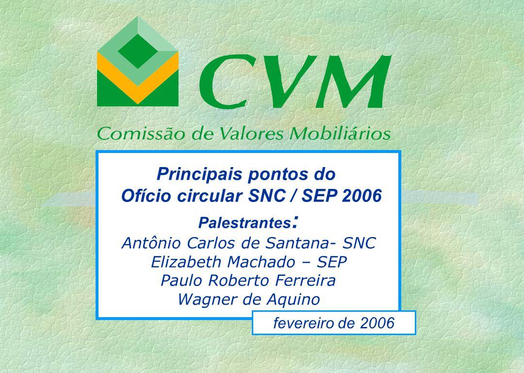 Principais pontos do Ofício circular SNC / SEP 2006 Palestrantes : Antônio Carlos de Santana- SNC Elizabeth Machado – SEP Paulo Roberto Ferreira Wagne