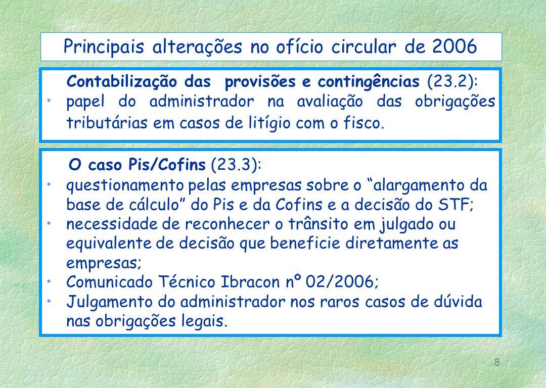 8 Principais alterações no ofício circular de 2006 Contabilização das provisões e contingências (23.2): papel do administrador na avaliação das obriga