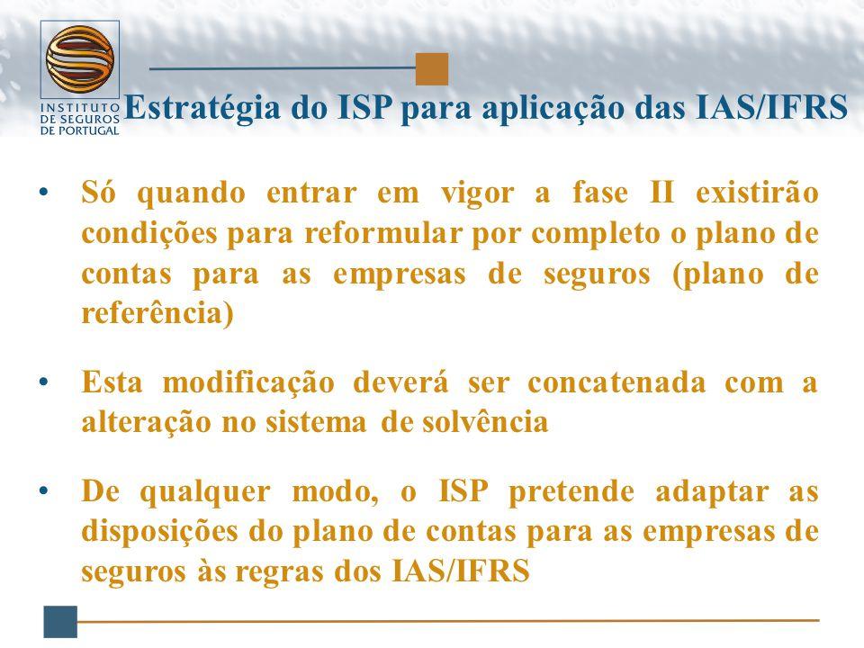 Só quando entrar em vigor a fase II existirão condições para reformular por completo o plano de contas para as empresas de seguros (plano de referência) Esta modificação deverá ser concatenada com a alteração no sistema de solvência De qualquer modo, o ISP pretende adaptar as disposições do plano de contas para as empresas de seguros às regras dos IAS/IFRS Estratégia do ISP para aplicação das IAS/IFRS