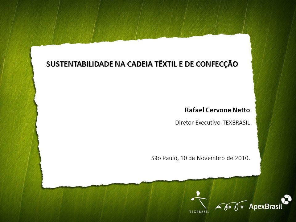 SUSTENTABILIDADE NA CADEIA TÊXTIL E DE CONFECÇÃO Rafael Cervone Netto Diretor Executivo TEXBRASIL São Paulo, 10 de Novembro de 2010.