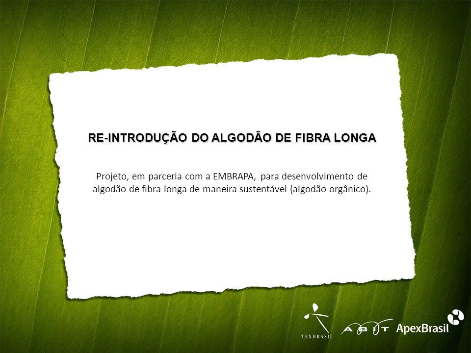 RE-INTRODUÇÃO DO ALGODÃO DE FIBRA LONGA Projeto, em parceria com a EMBRAPA, para desenvolvimento de algodão de fibra longa de maneira sustentável (algodão orgânico).