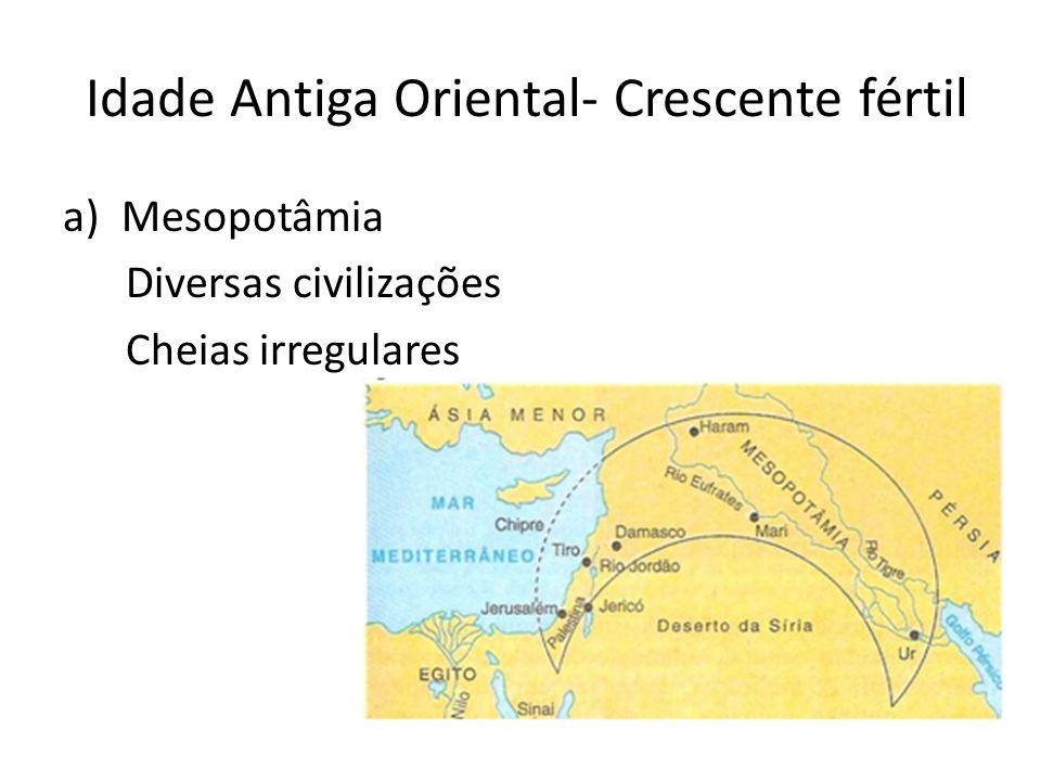 Idade Antiga Oriental- Crescente fértil a)Mesopotâmia Diversas civilizações Cheias irregulares