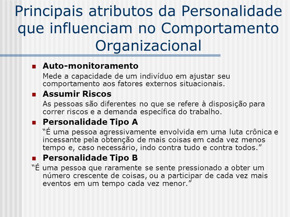 Principais atributos da Personalidade que influenciam no Comportamento Organizacional Auto-monitoramento Mede a capacidade de um indivíduo em ajustar