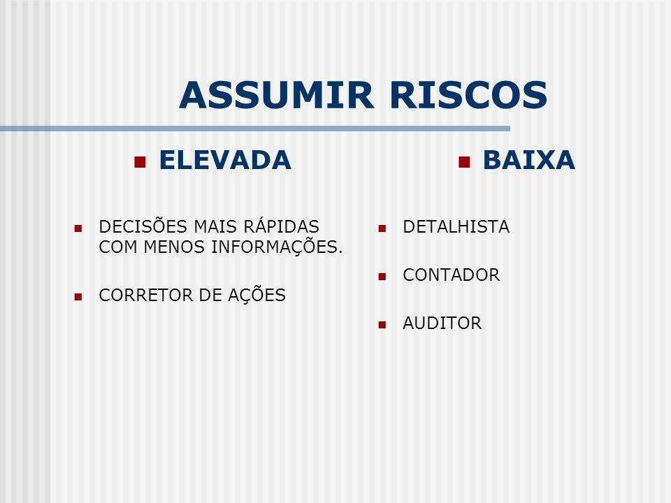 ASSUMIR RISCOS ELEVADA DECISÕES MAIS RÁPIDAS COM MENOS INFORMAÇÕES. CORRETOR DE AÇÕES BAIXA DETALHISTA CONTADOR AUDITOR
