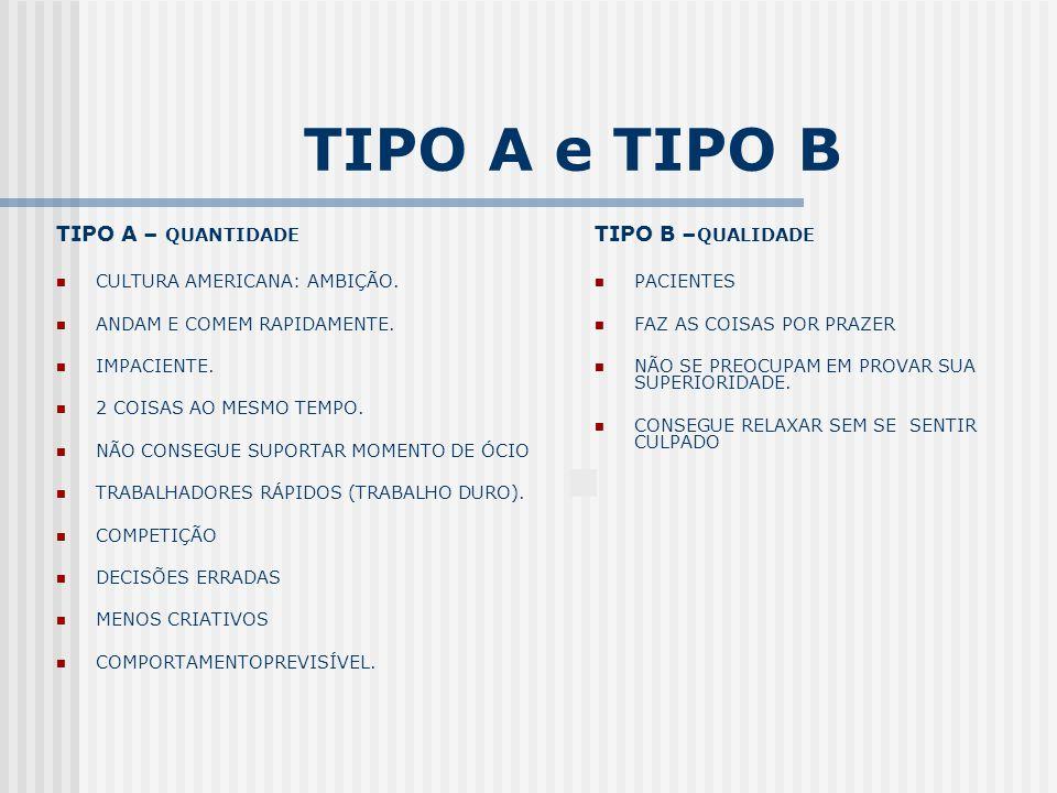 TIPO A e TIPO B TIPO A – QUANTIDADE CULTURA AMERICANA: AMBIÇÃO. ANDAM E COMEM RAPIDAMENTE. IMPACIENTE. 2 COISAS AO MESMO TEMPO. NÃO CONSEGUE SUPORTAR