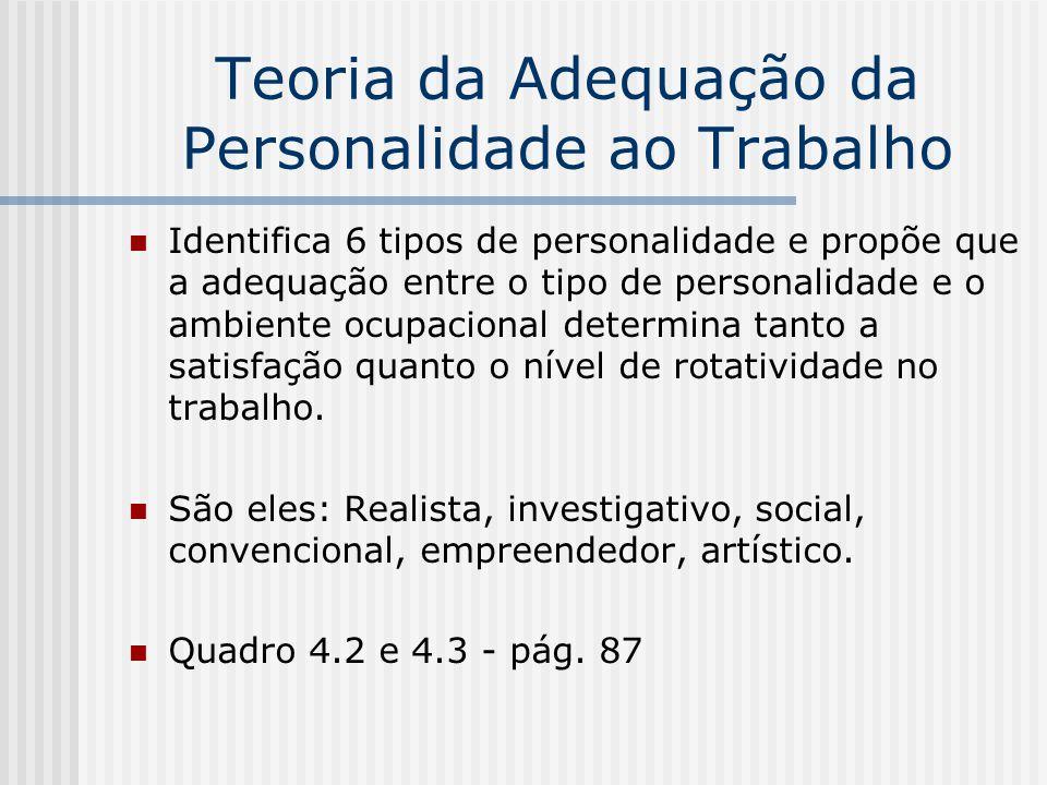Teoria da Adequação da Personalidade ao Trabalho Identifica 6 tipos de personalidade e propõe que a adequação entre o tipo de personalidade e o ambien