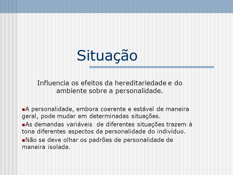 Situação Influencia os efeitos da hereditariedade e do ambiente sobre a personalidade. A personalidade, embora coerente e estável de maneira geral, po