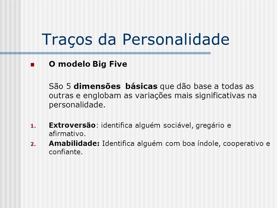 Traços da Personalidade O modelo Big Five São 5 dimensões básicas que dão base a todas as outras e englobam as variações mais significativas na person