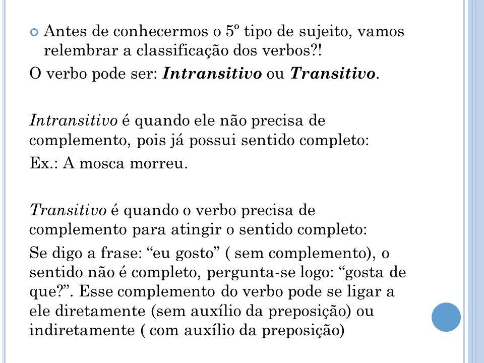 Antes de conhecermos o 5º tipo de sujeito, vamos relembrar a classificação dos verbos?! O verbo pode ser: Intransitivo ou Transitivo. Intransitivo é q