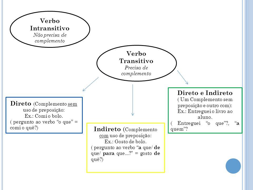 """Direto e Indireto ( Um Complemento sem preposição e outro com): Ex.: Entreguei o livro ao aluno. ( Entreguei """"o que""""?, """" a quem""""? Verbo Intransitivo N"""