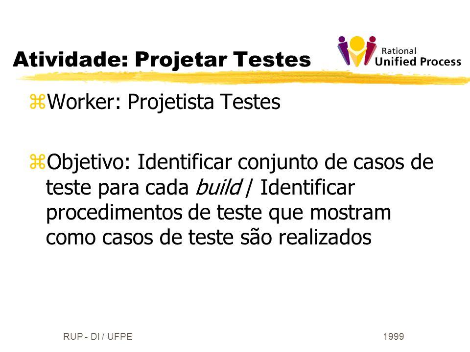 1999RUP - DI / UFPE zWorker: Projetista Testes zObjetivo: Identificar conjunto de casos de teste para cada build / Identificar procedimentos de teste