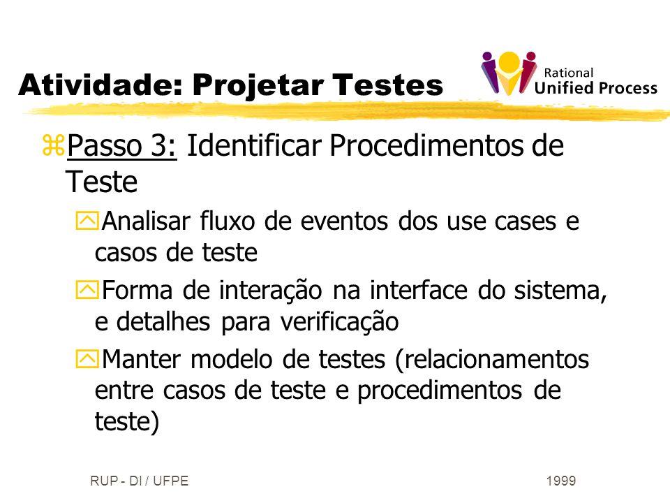 1999RUP - DI / UFPE zPasso 3: Identificar Procedimentos de Teste yAnalisar fluxo de eventos dos use cases e casos de teste yForma de interação na inte