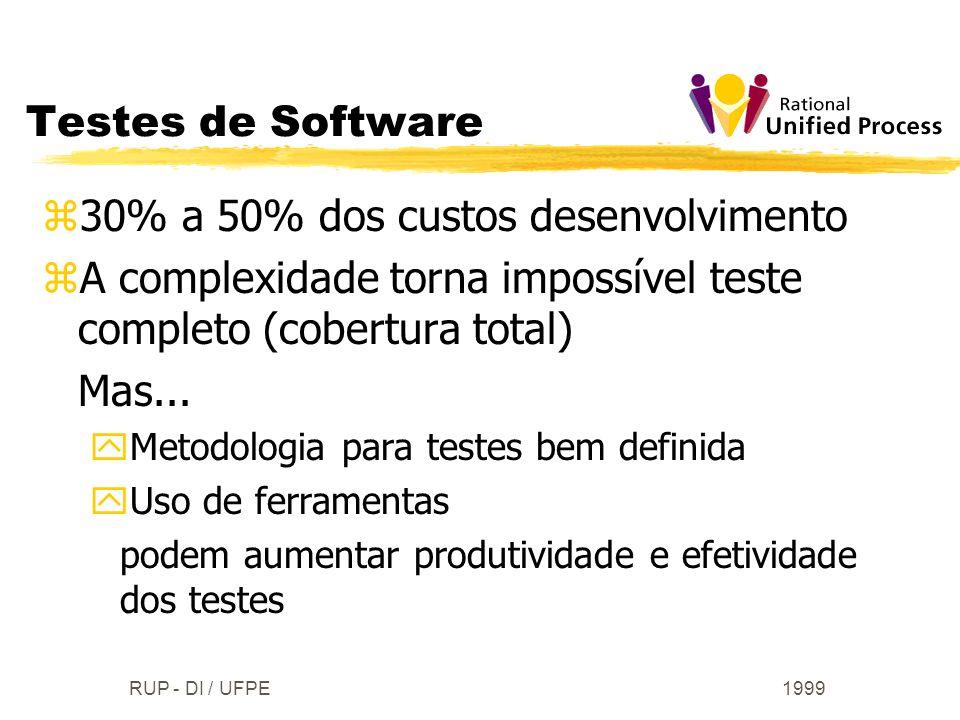1999RUP - DI / UFPE Testes de Software z30% a 50% dos custos desenvolvimento zA complexidade torna impossível teste completo (cobertura total) Mas...