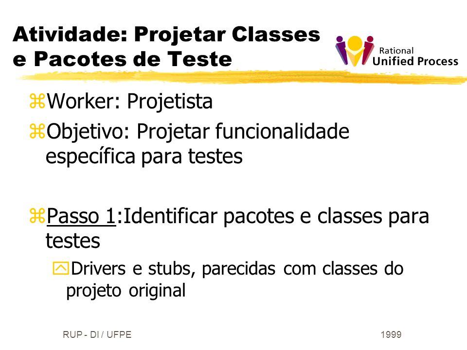 1999RUP - DI / UFPE zWorker: Projetista zObjetivo: Projetar funcionalidade específica para testes zPasso 1:Identificar pacotes e classes para testes y