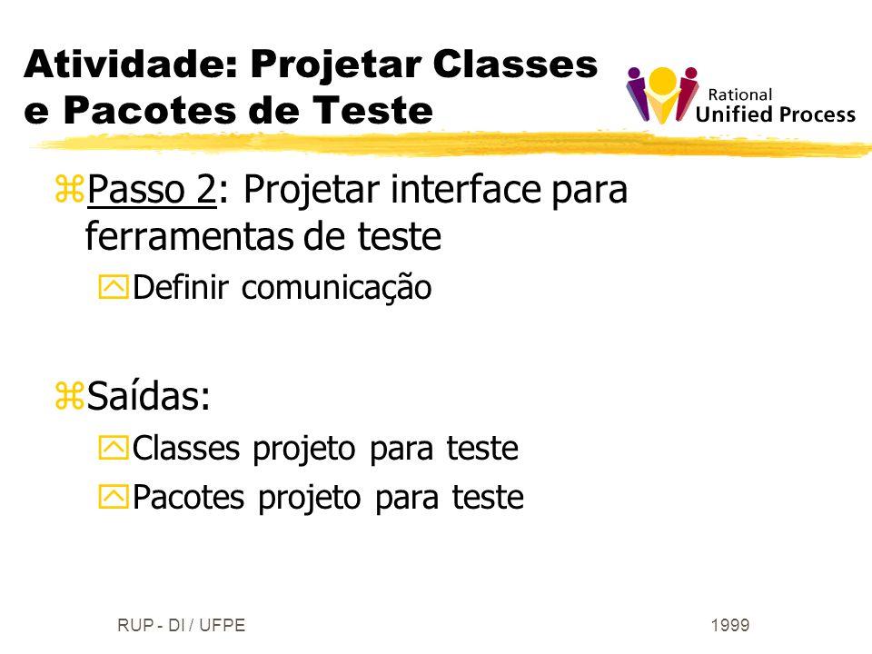 1999RUP - DI / UFPE zPasso 2: Projetar interface para ferramentas de teste yDefinir comunicação zSaídas: yClasses projeto para teste yPacotes projeto