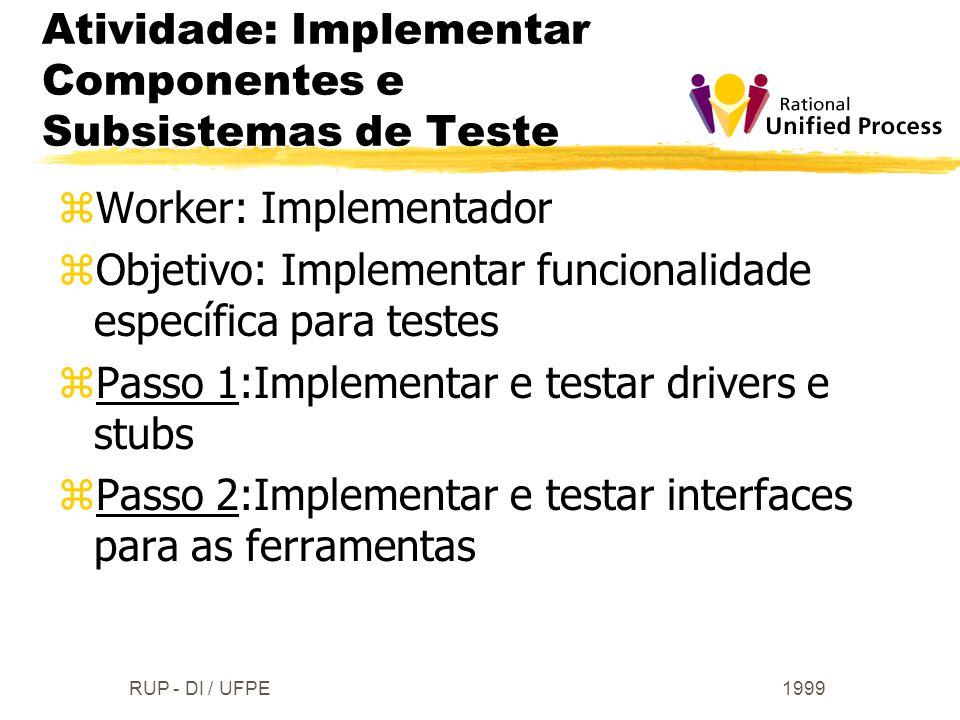 1999RUP - DI / UFPE zWorker: Implementador zObjetivo: Implementar funcionalidade específica para testes zPasso 1:Implementar e testar drivers e stubs