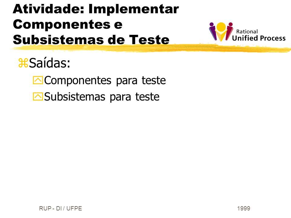 1999RUP - DI / UFPE zSaídas: yComponentes para teste ySubsistemas para teste Atividade: Implementar Componentes e Subsistemas de Teste