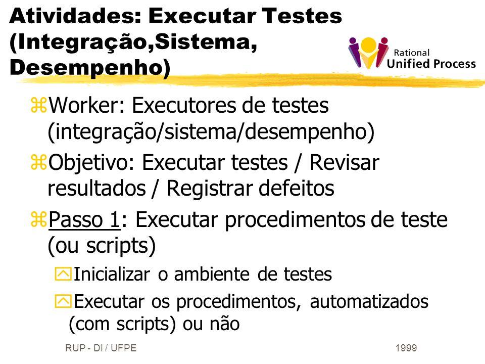 1999RUP - DI / UFPE zWorker: Executores de testes (integração/sistema/desempenho) zObjetivo: Executar testes / Revisar resultados / Registrar defeitos