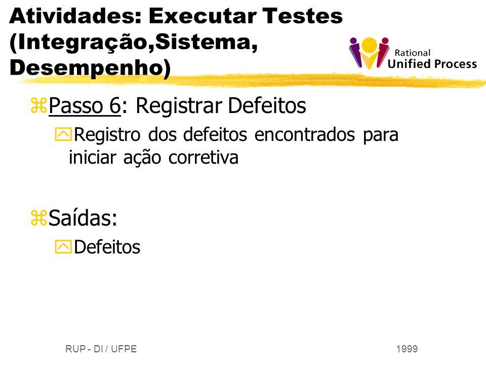 1999RUP - DI / UFPE zPasso 6: Registrar Defeitos yRegistro dos defeitos encontrados para iniciar ação corretiva zSaídas: yDefeitos Atividades: Executa
