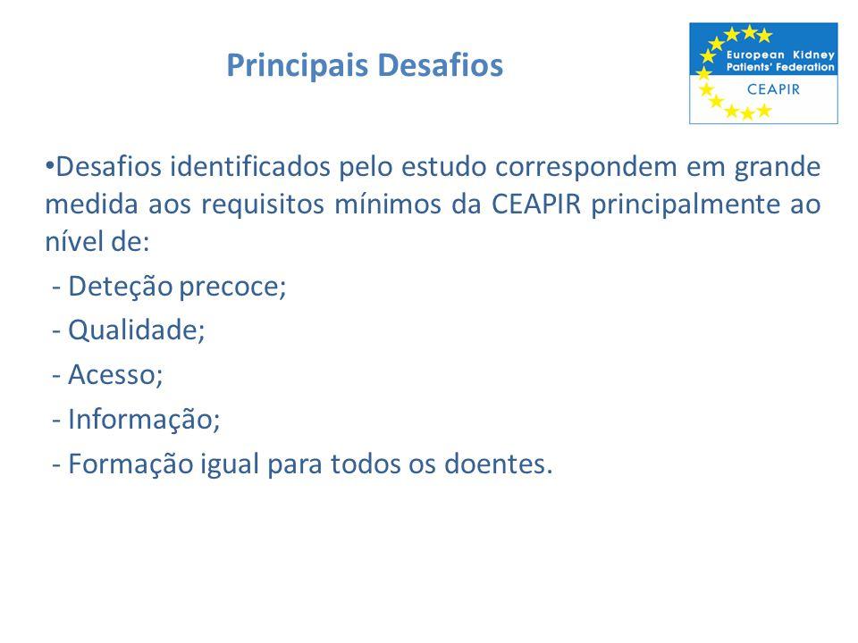 Principais Desafios Desafios identificados pelo estudo correspondem em grande medida aos requisitos mínimos da CEAPIR principalmente ao nível de: - De