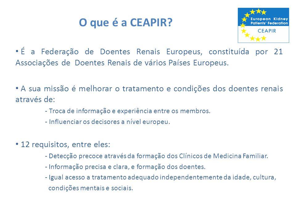 O que é a CEAPIR? É a Federação de Doentes Renais Europeus, constituída por 21 Associações de Doentes Renais de vários Países Europeus. A sua missão é