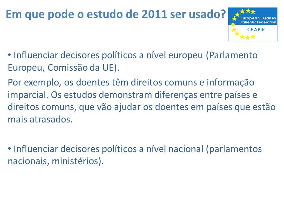 Em que pode o estudo de 2011 ser usado? Influenciar decisores políticos a nível europeu (Parlamento Europeu, Comissão da UE). Por exemplo, os doentes