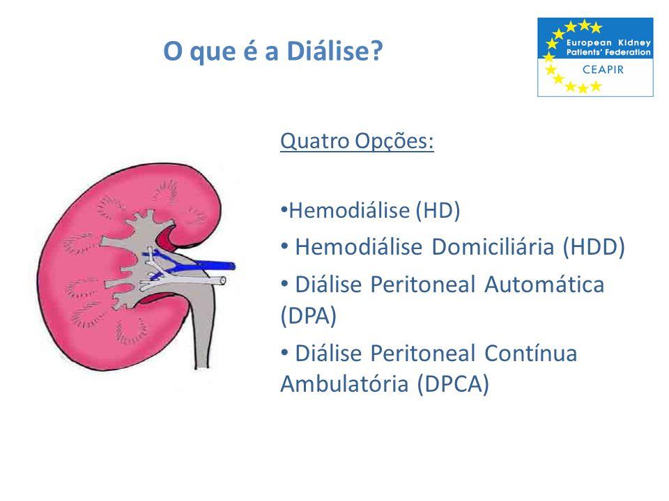 O que é a Diálise? Quatro Opções: Hemodiálise (HD) Hemodiálise Domiciliária (HDD) Diálise Peritoneal Automática (DPA) Diálise Peritoneal Contínua Ambu