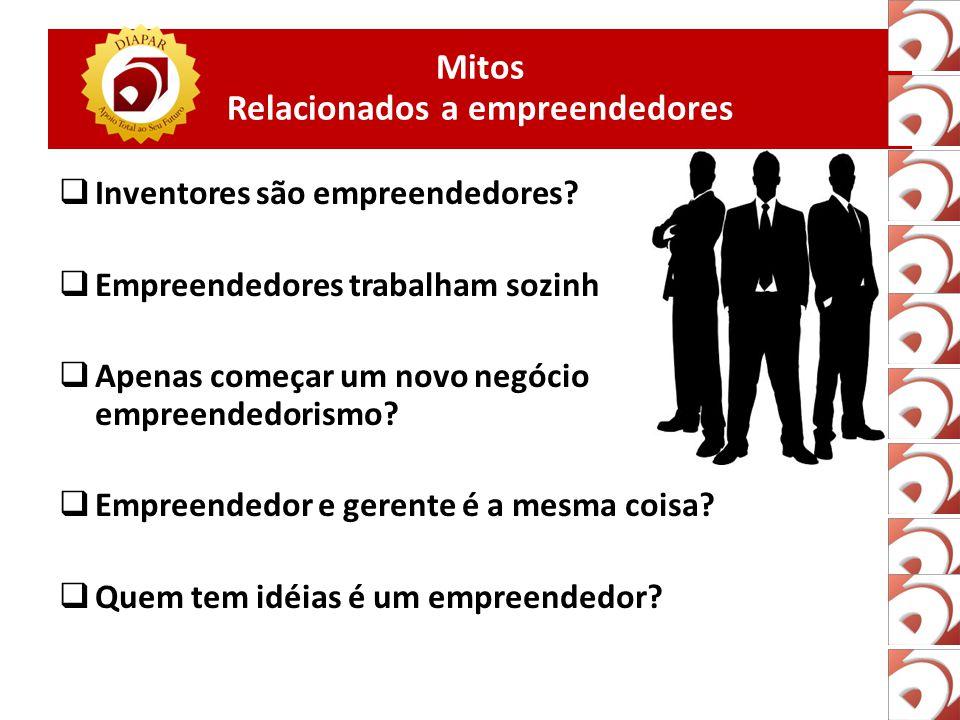 Mitos Relacionados a empreendedores  Inventores são empreendedores.