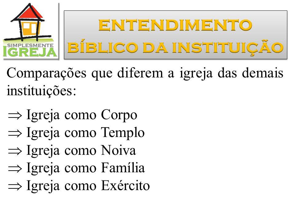 Comparações que diferem a igreja das demais instituições:  Igreja como Corpo  Igreja como Templo  Igreja como Noiva  Igreja como Família  Igreja