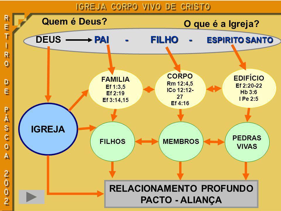 Quem é Deus? O que é a Igreja? DEUS PAI -FILHO -ESPIRITO SANTO RELACIONAMENTO PROFUNDO PACTO - ALIANÇA IGREJA FAMILIA Ef 1:3,5 Ef 2:19 Ef 3:14,15 CORP